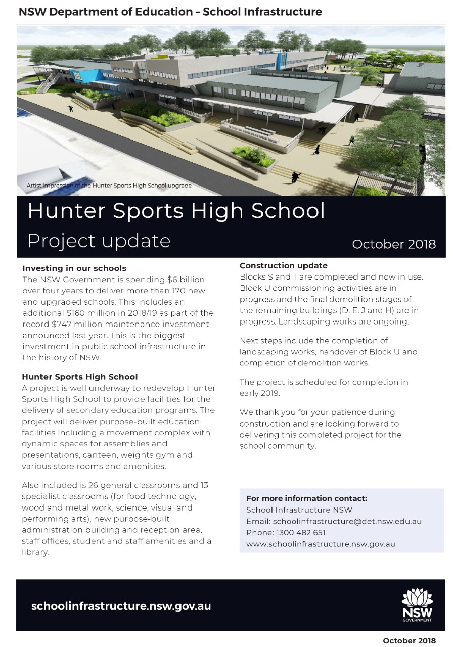 An image of the latest redevelopment update flyer from the Department of Education. Includes an artist's impression image of the new school and information about the progression of the redevelopment project and next steps etc.