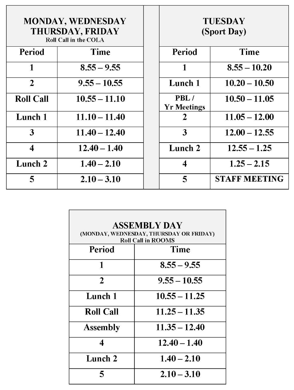 A table showing bell times for a normal school day, a sport day and an assembly day