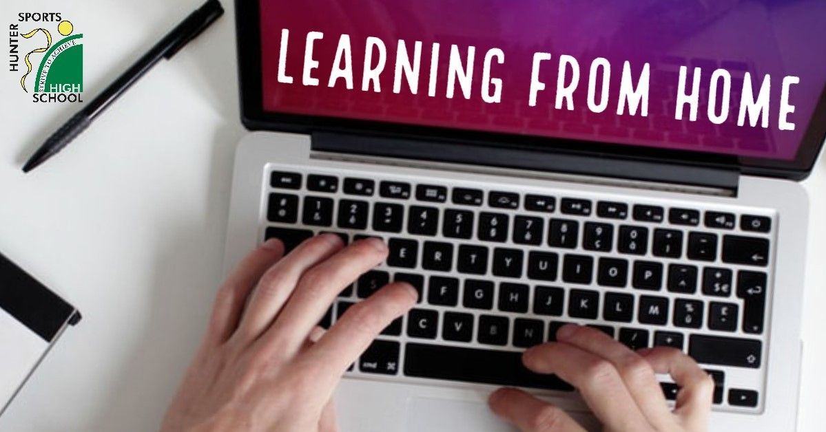 image of computer with 'Learning from Home' heading