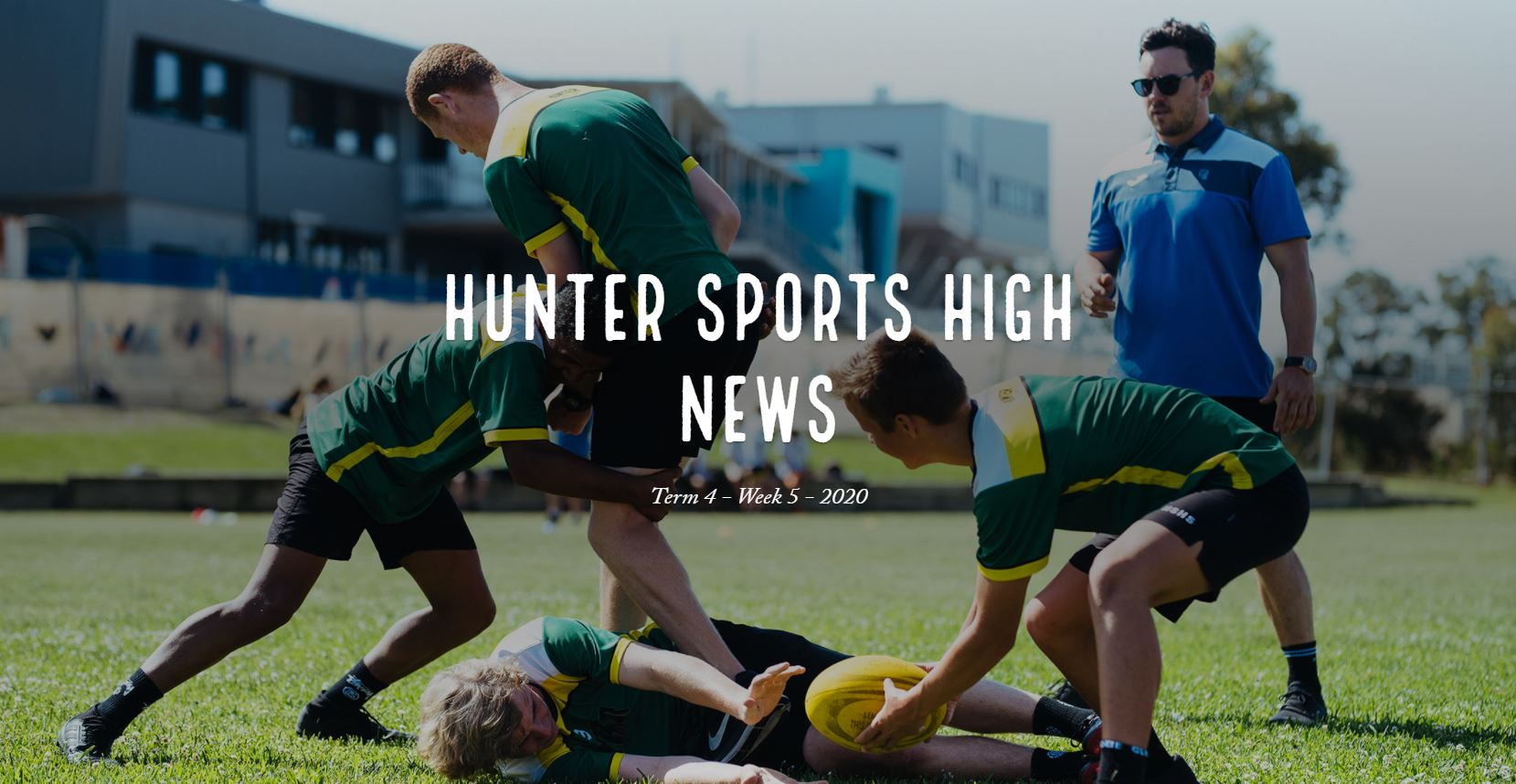 Newsletter Header with image of four boys and male coach practising rugby drills