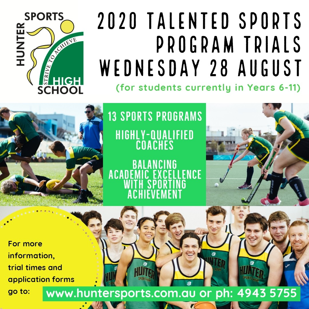 images of students playing sport with trials date and website details included